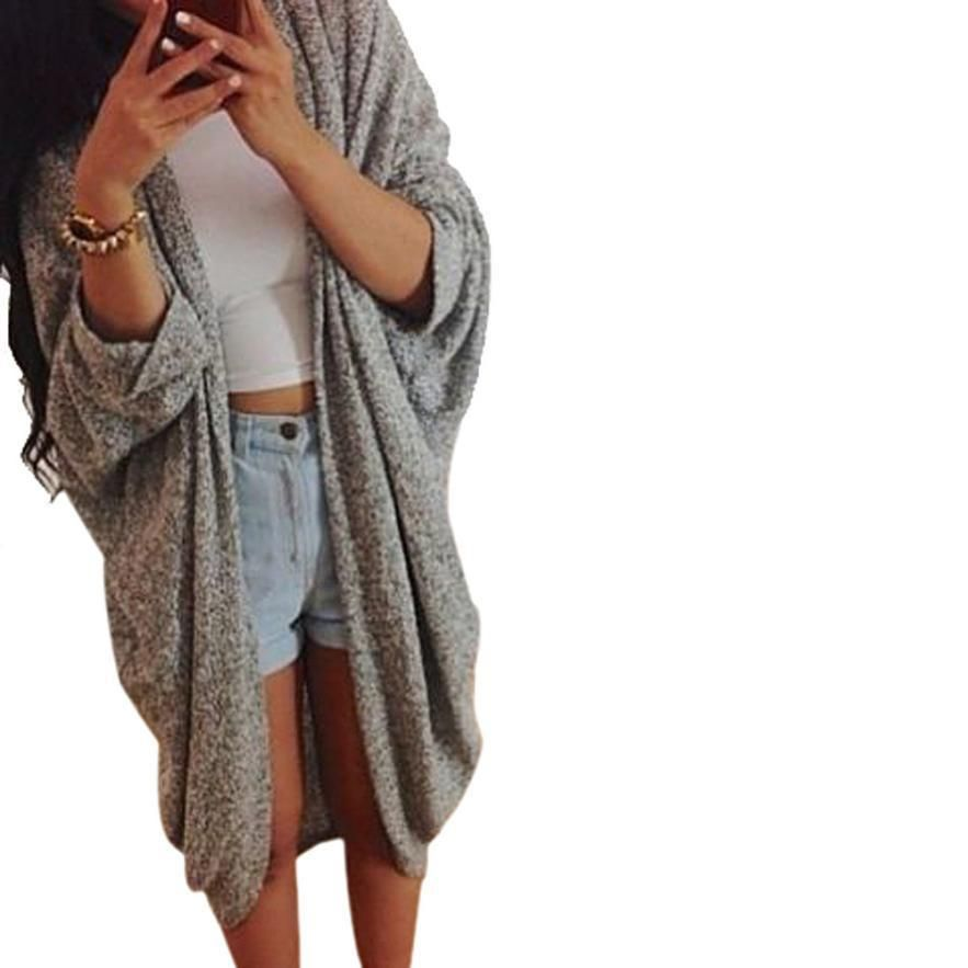 JECKSION Womens Cardigan Lady Casual Knit Sleeve Sweater Coat Grey Jacket  Batwing Sleeve. Item Type c8c084500