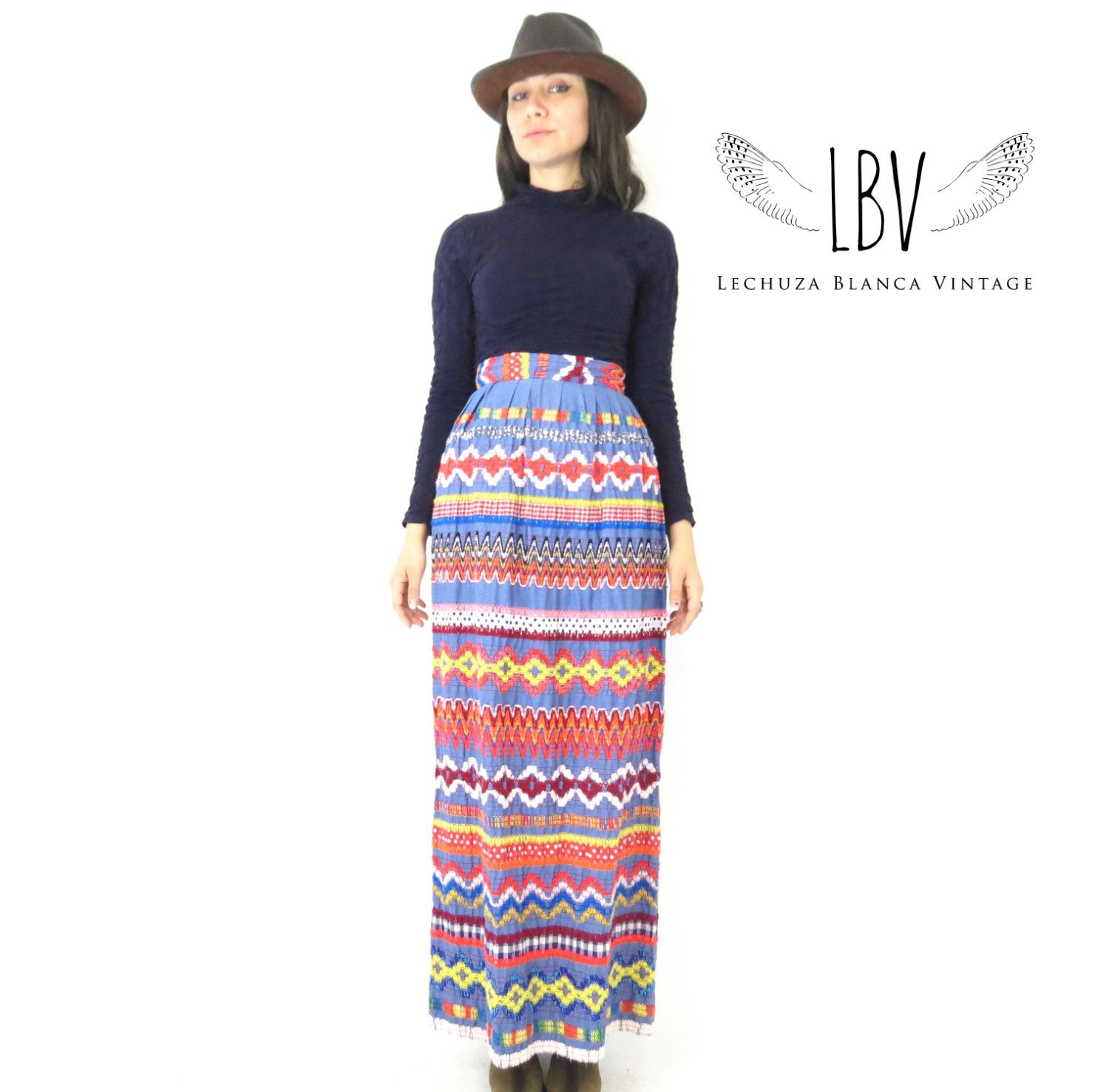 S bold u textured embroidery high waisted maxi skirt by