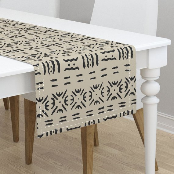 Table Runner African Cotton /& Mudcloth Black White Tribal Decor Cotton Sateen