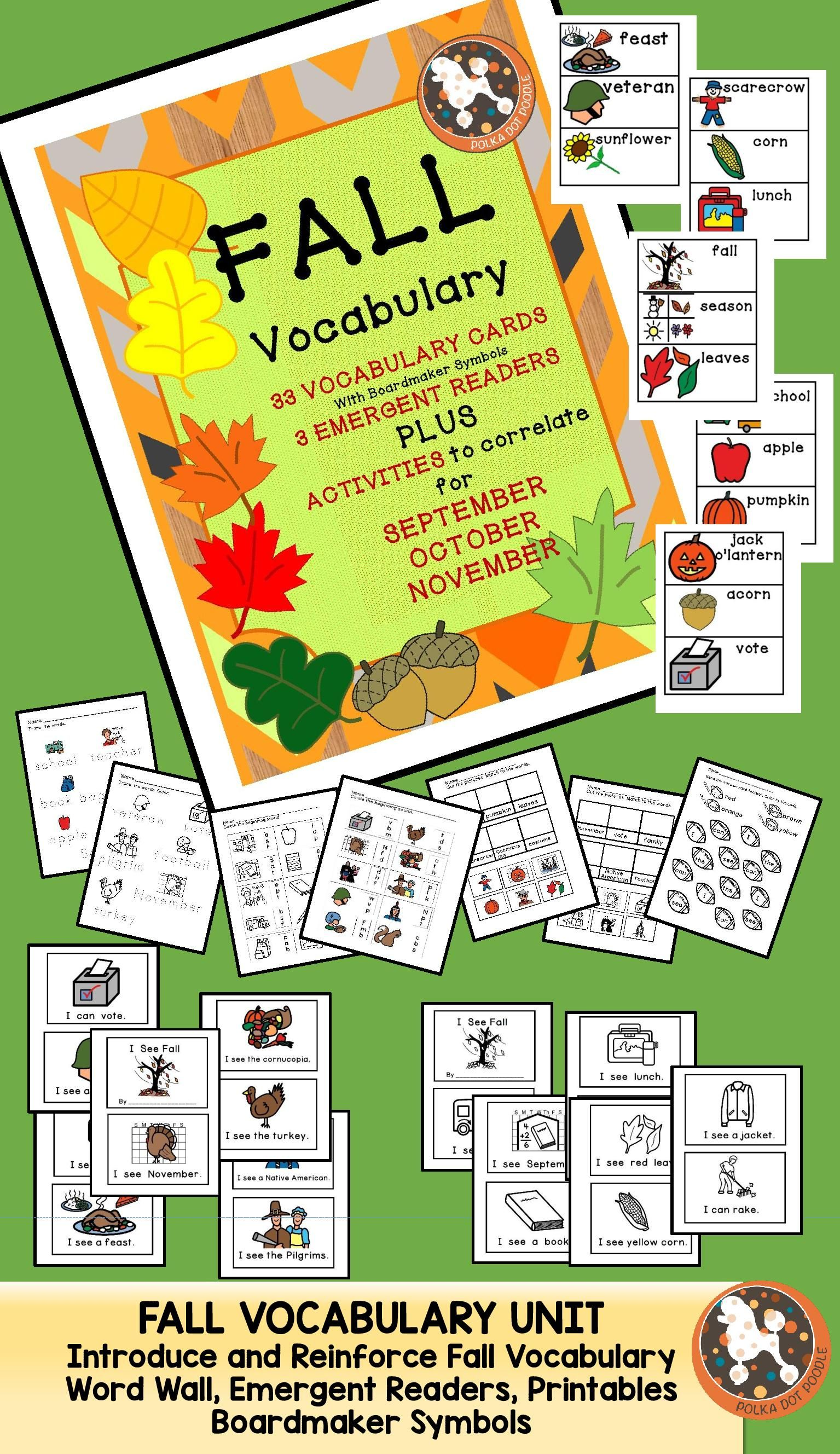 Fall Vocabulary Unit Word Wall Cards Emergent Readers