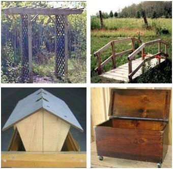 Free Outdoor Wood Projects from WayneOfTheWoods.com - Build your own trellis, garden bridge, firewood box, mail box, bird feeder, dog house, picnic table and more.