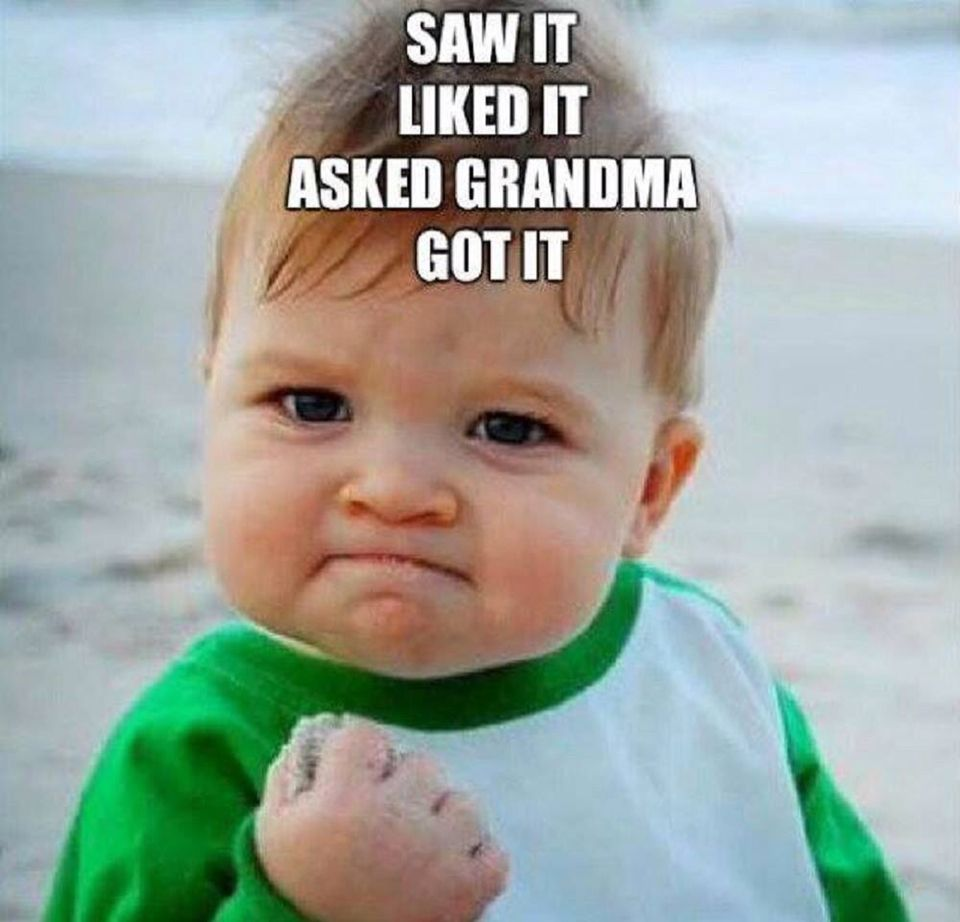 Saw It Liked It Asked Grandma About It Got It Success Kid Funny Baby Memes Grandma Quotes