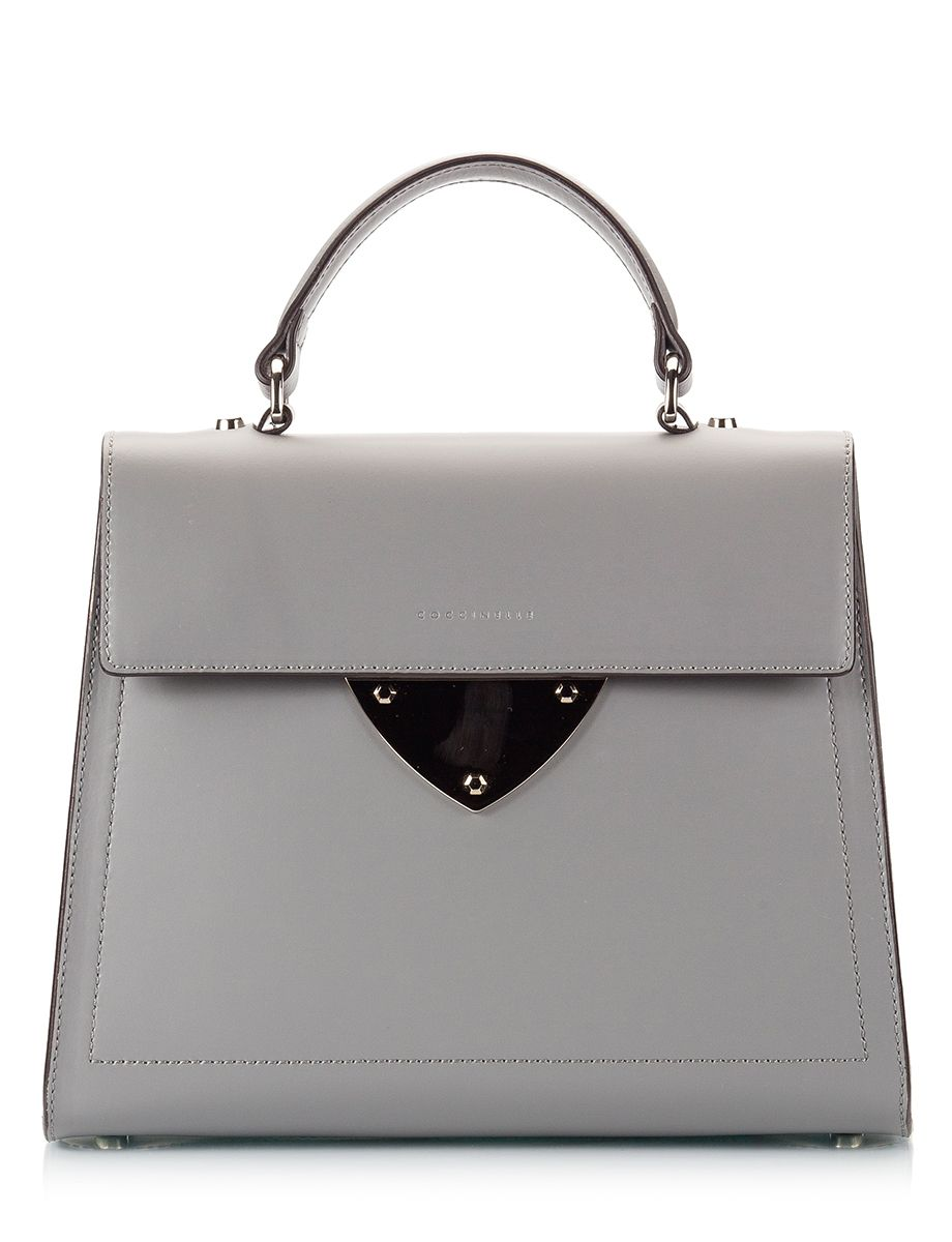 Coccinelle B14 Grey polished leather top-handle mini bag Μαύρο - http://