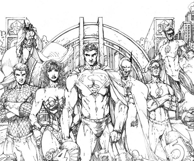 Justice League By Brett Booth Drawing Superheroes Superhero Coloring Superhero Coloring Pages