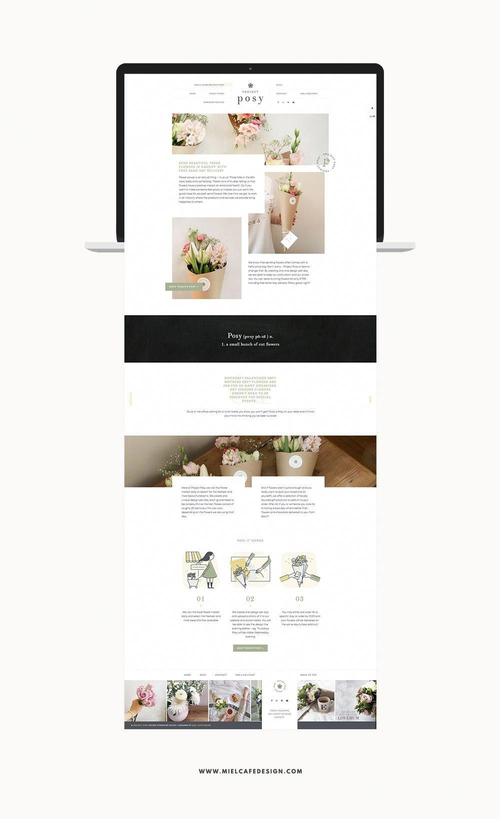 Custom Web Design For Cardiff Flower Delivery Service Project Posy With Fun Handmade Digital Icons Cha Custom Web Design Flower Delivery Portfolio Web Design