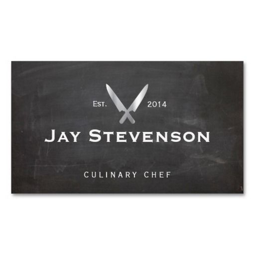 Cool personal chef knife black catering logo business card chef cool personal chef knife black catering logo double sided standard business cards pack of 100 reheart Images