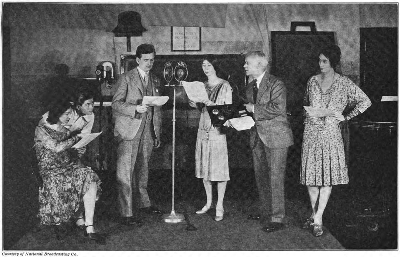 Broadcasting a radio play at NBC studio - AM broadcasting