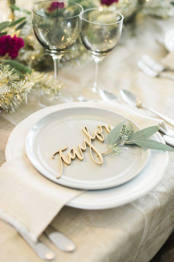 silver heart wedding place card holders%0A A Metallic Holiday Table  Wedding Table Ideas ElegantWedding Table Name  CardsSmall