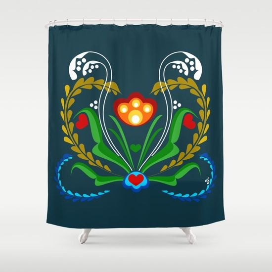 Scandinavian Folk Art Tulip V2 Shower Curtain Scandinavian