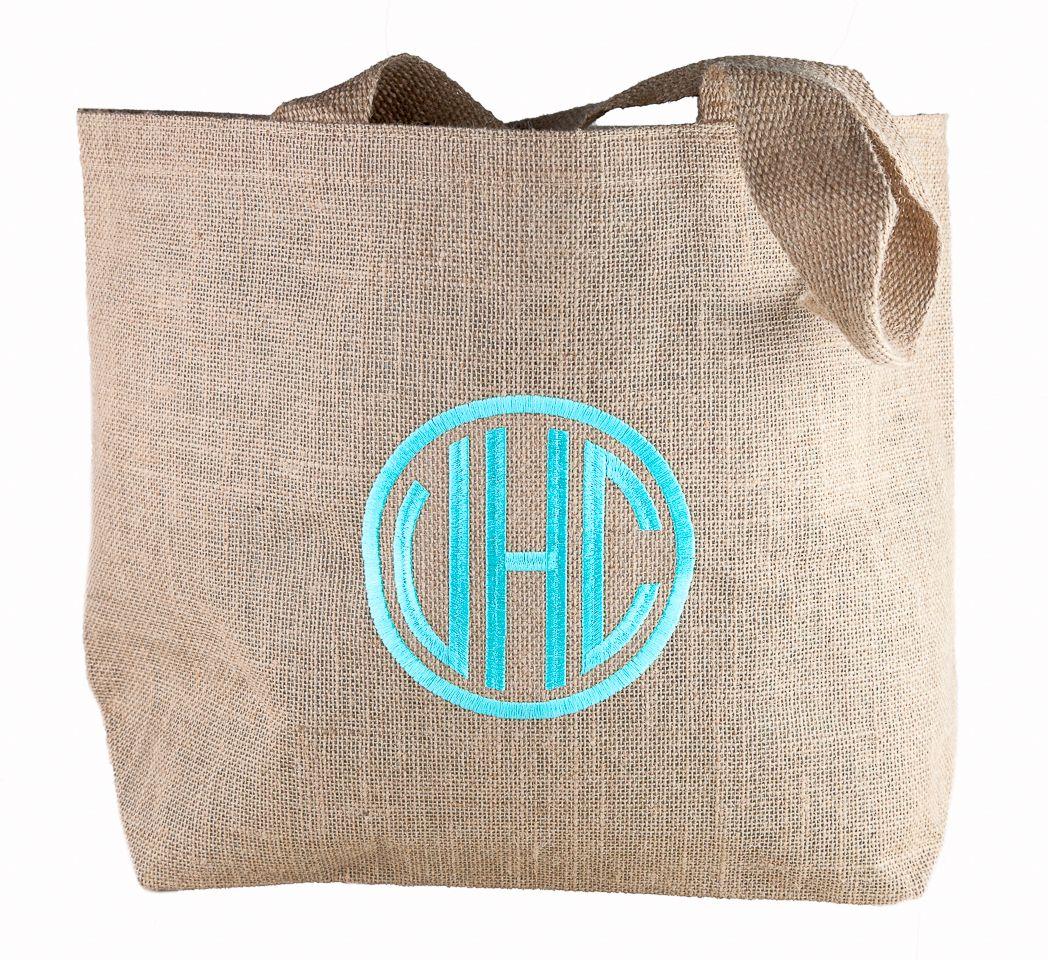 5fe97df9df ... monogrammed bag. Isola  Monogrammed Burlap Tote -- Original   38 -- GMA  Exclusive Deal