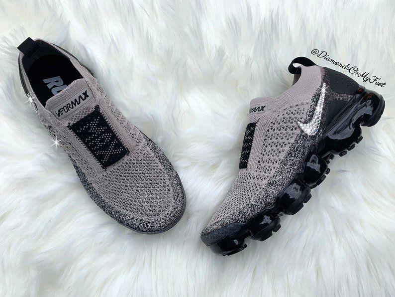 online store f342b 6620e Swarovski Women s Nike Air Vapormax Flyknit Moc 2 Grey   Etsy
