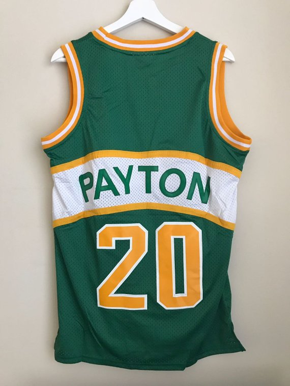 38fd6a984cfc Gary Payton  20 Seattle SuperSonics Green and Yellow Basketball Vintage Jersey  Men s