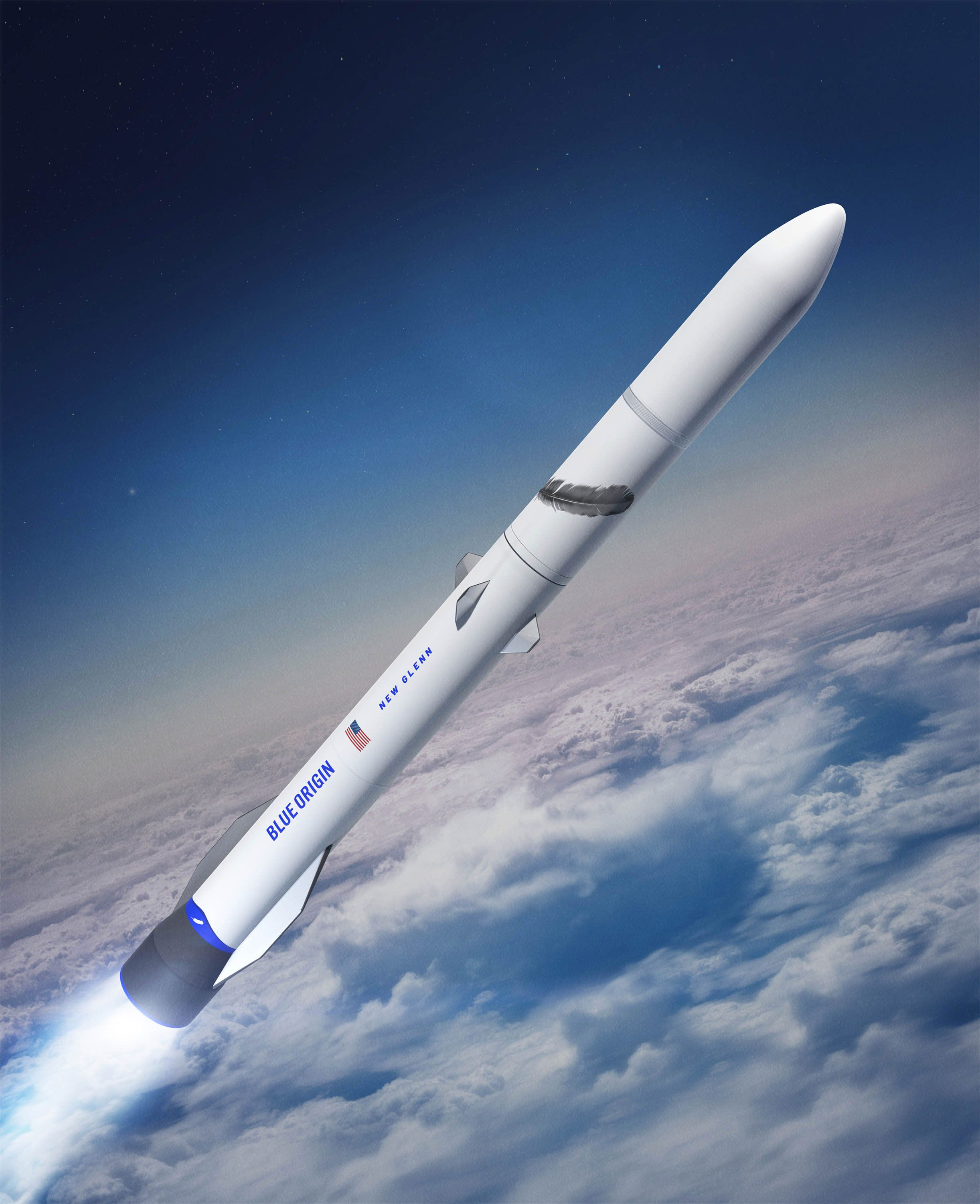BlueOrigin's New Glenn rendered in flight. It's a