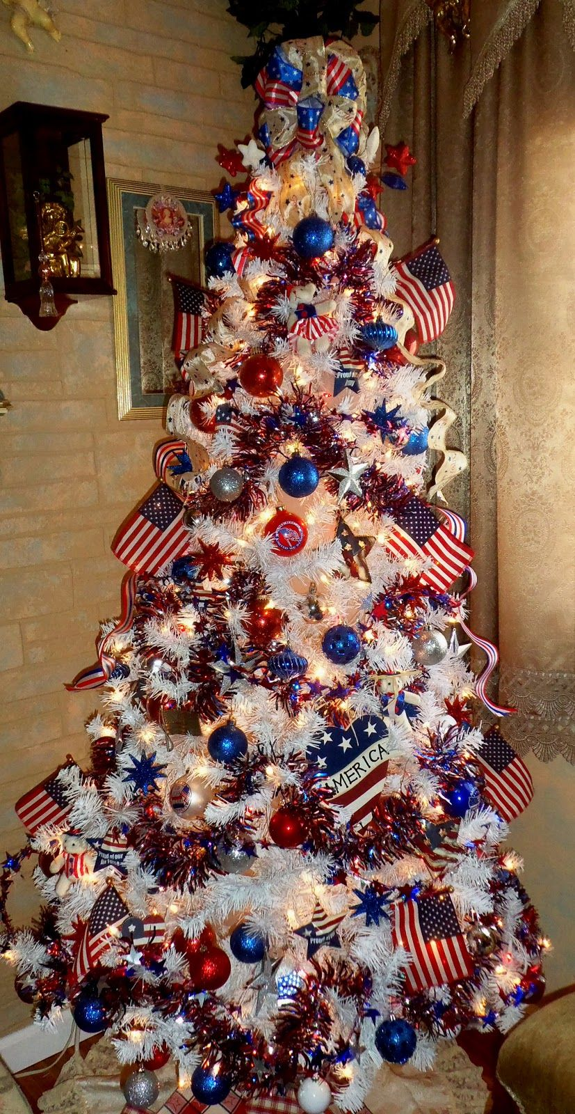 Americana christmas ornaments - I Love Having A Patriotic Tree At Christmas We Have Special Decorations Lights American Flags And Pictures In Frames Of The Family Soldiers