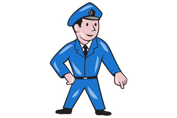 Police Officer Pointing Down Cartoon Cartoon Art Retro Illustration Cartoon Styles