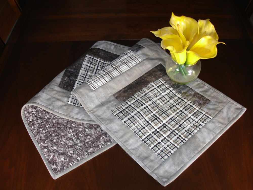 Modern Taupe Table Runner, Taupe And Grey Quilted Wallhanging, Grey Plaid  Quilted Runner,