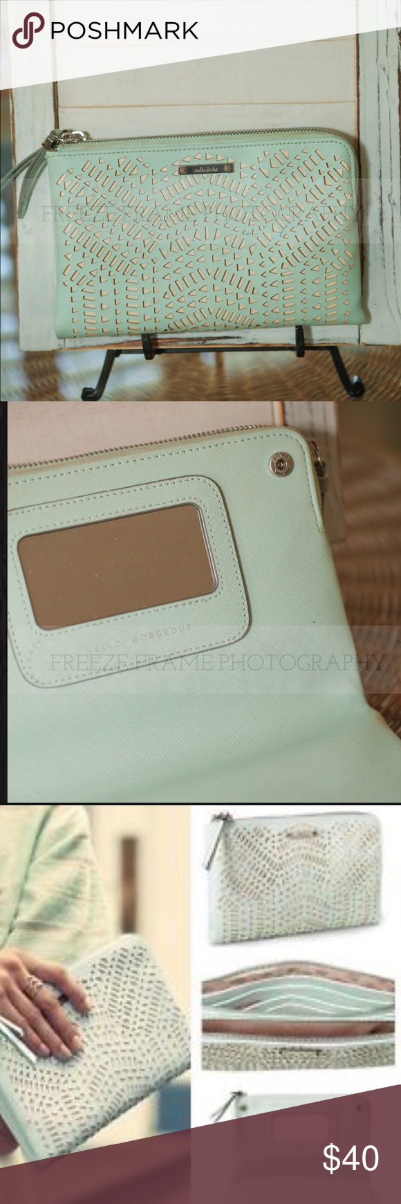Stella & Dot clutch Tiffany blue. Super cute versatile clutch. First 2 pictures are actual purse. Second two are SND ads. This purse has been gently used. Stella & Dot Bags Clutches & Wristlets
