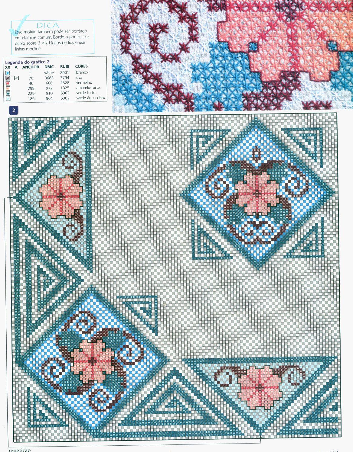 flores   bordados en tela domino   Pinterest   Bordado, Punto y ...