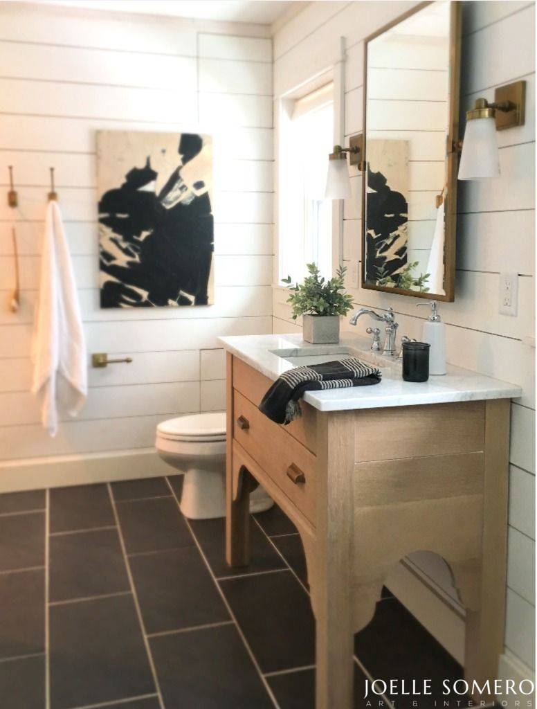 Master bathroom with shiplap white oak lime waxed vanity marble