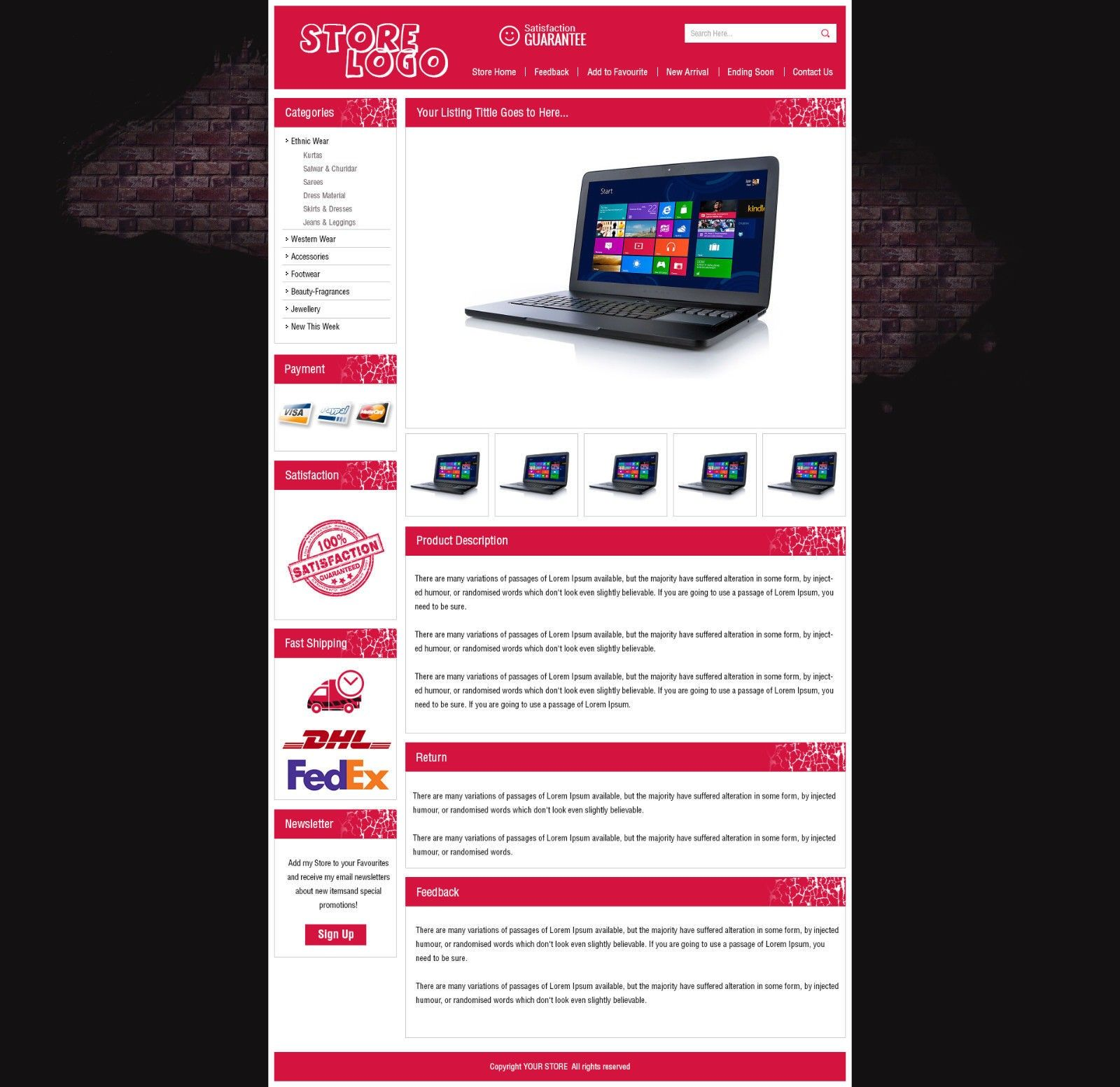 red theme ebay listing templates to list sell laptop mobile