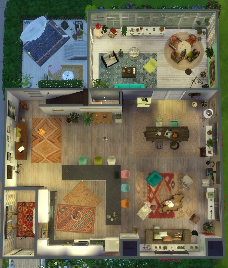 Maison Boheme Chic Plan Rez De Chaussee Maison Sims Maison Sims 3 Sims 4 Maison