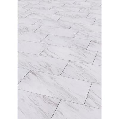 Trafficmaster 12 In X 24 In Peel And Stick Carrara Marble Vinyl Tile 20 Sq Marble Vinyl Luxury Vinyl Tile Flooring Vinyl Tile