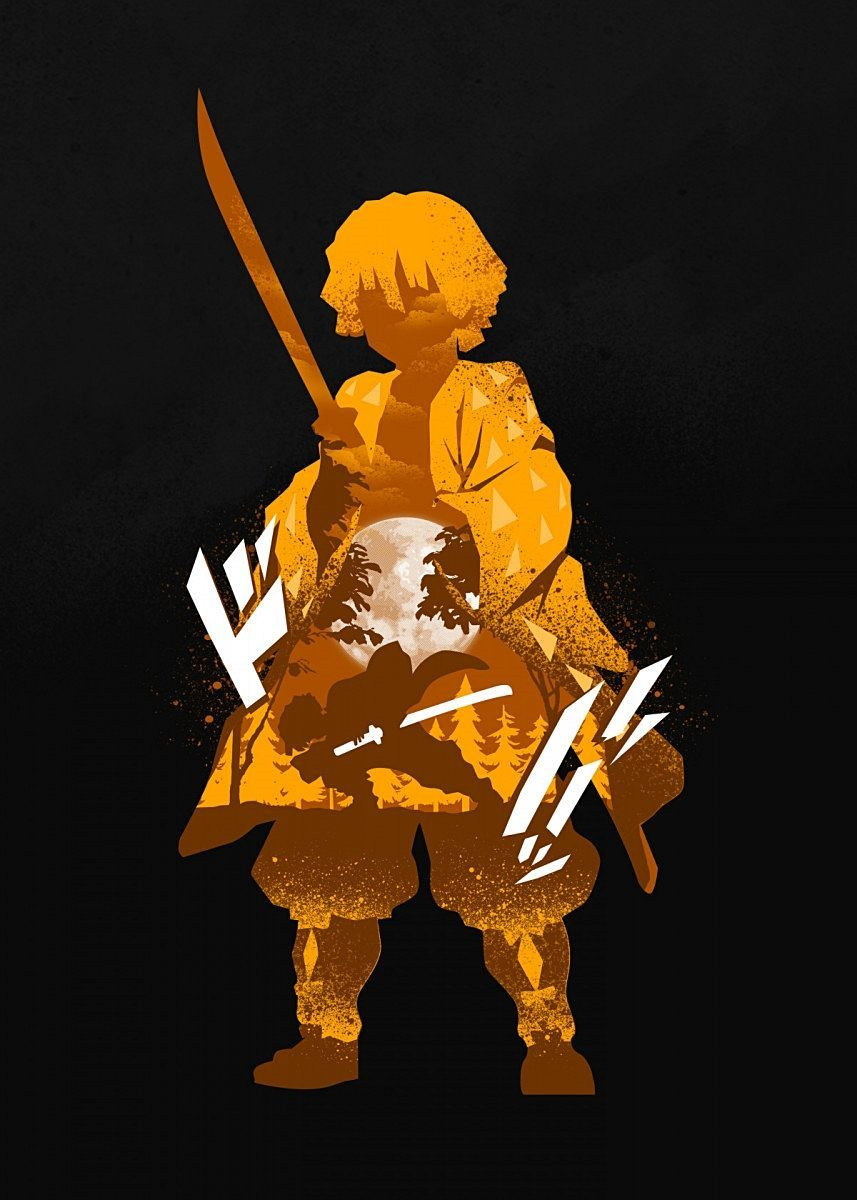 Kimetsu No Yaiba Zenitsu Agatsuma Metal Poster In 2020 Anime Character Drawing Anime Wallpaper Anime