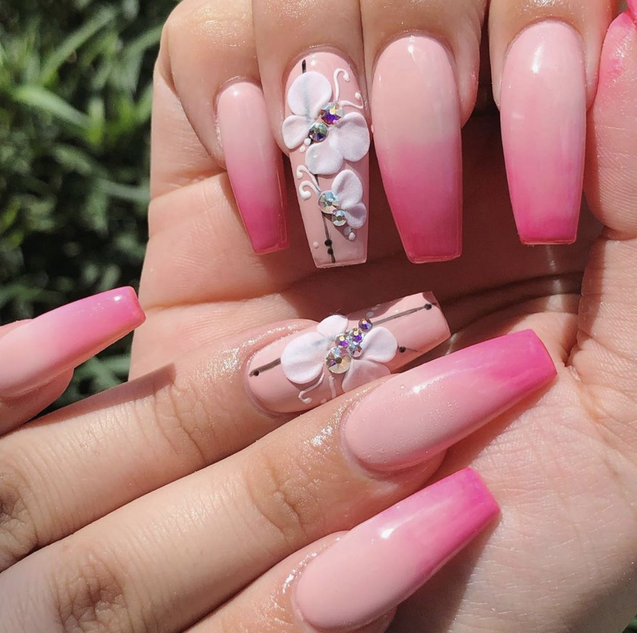Medium Coffin Nails Pink Hot Pink Ombre With 3d Butterfly S Butterfly Nail Butterfly Nail Art Gold Acrylic Nails