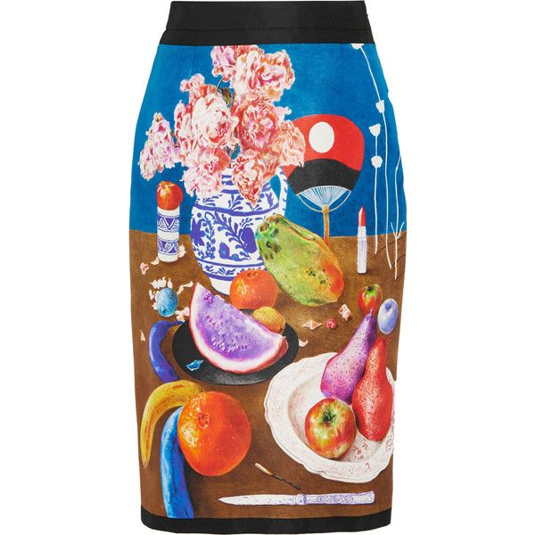 Prada Printed silk-faille pencil skirt (71.220 RUB) ❤ liked on Polyvore featuring skirts, blue, knee length pencil skirt, colorful skirts, layered skirt, blue skirt and silk pencil skirt