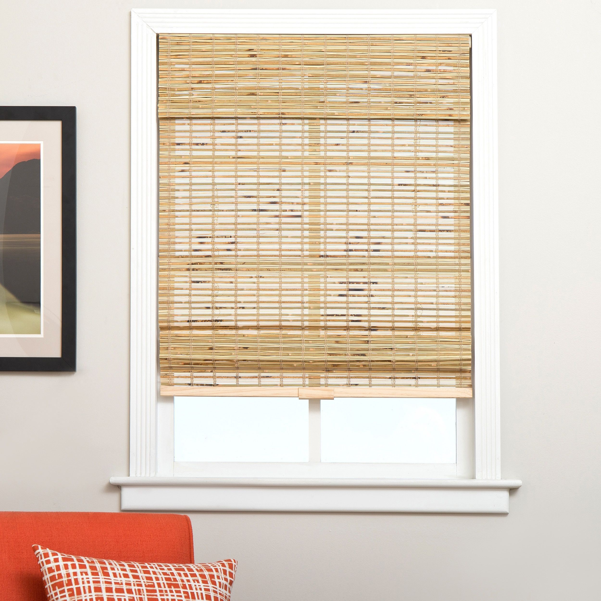Arlo Blinds Petite Rustique Cordless Lift Bamboo Roman Shades With