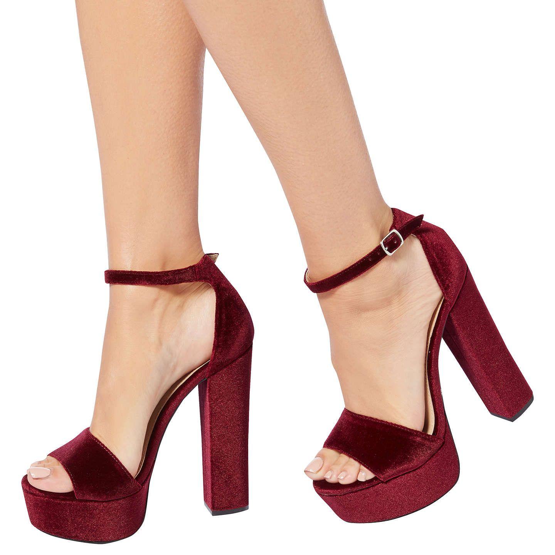 f649b7d2c4d37 BuySteve Madden Gonzo Platform Block Heeled Sandals, Burgundy Velvet, 7  Online at johnlewis.com