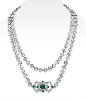 A DIAMOND AND EMERALD LONGCHAIN NECKLACE, BY LEVIEV Designed as a series of 108 collet-set diamonds, weighing from 1.16 to 1.00 carats, the reverse of each enhanced with pavé-set diamonds, joined by a circular-cut diamond and cabochon emerald openwork clasp, mounted in platinum.