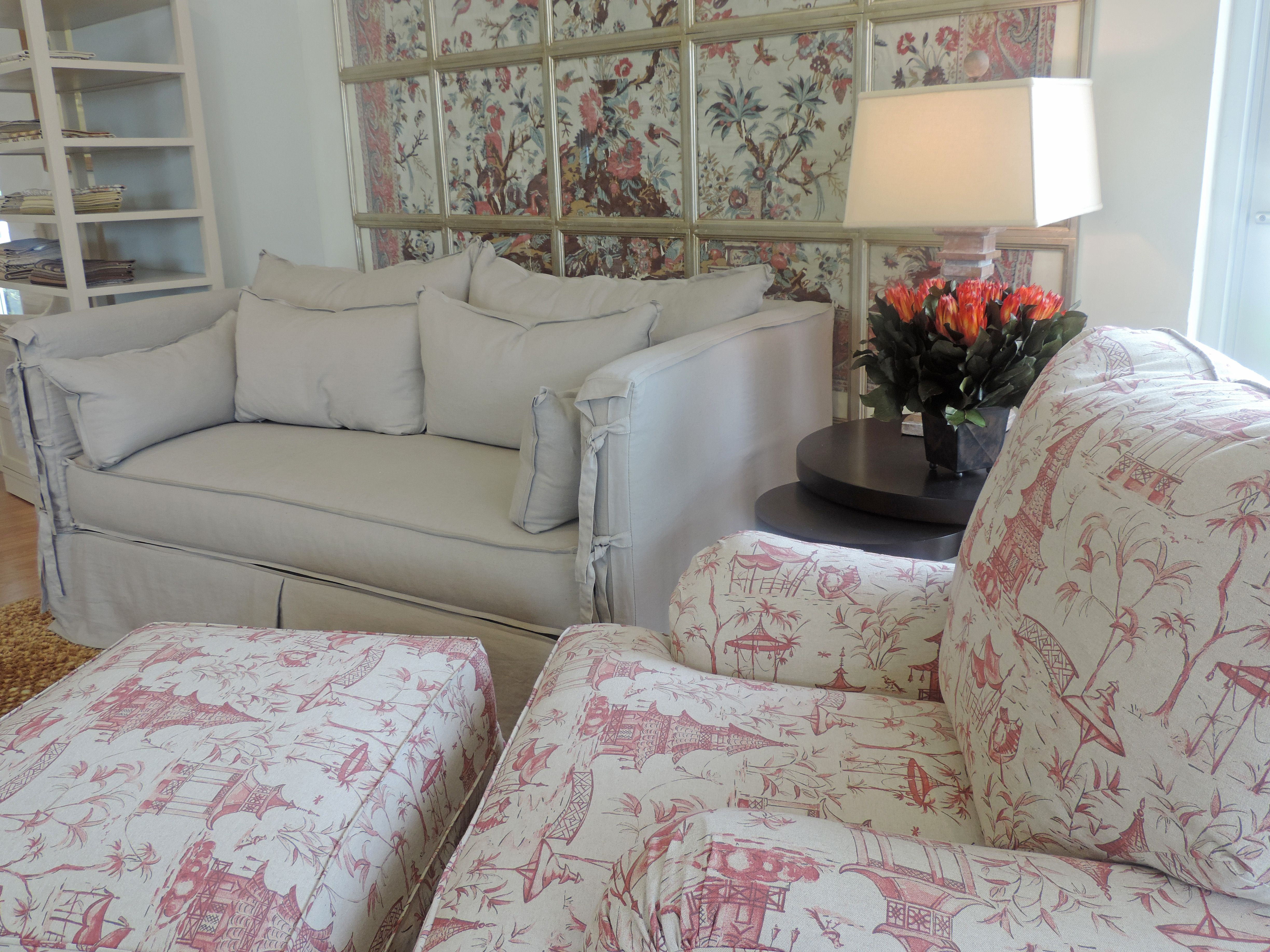 Chateau sofa slipcover with arm ties fun fabric pattern