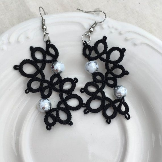 Tatting PATTERN - Black Tatted Lace Earrings, Tatting Patterns ...