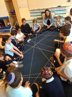 Students playing Hebrew games.
