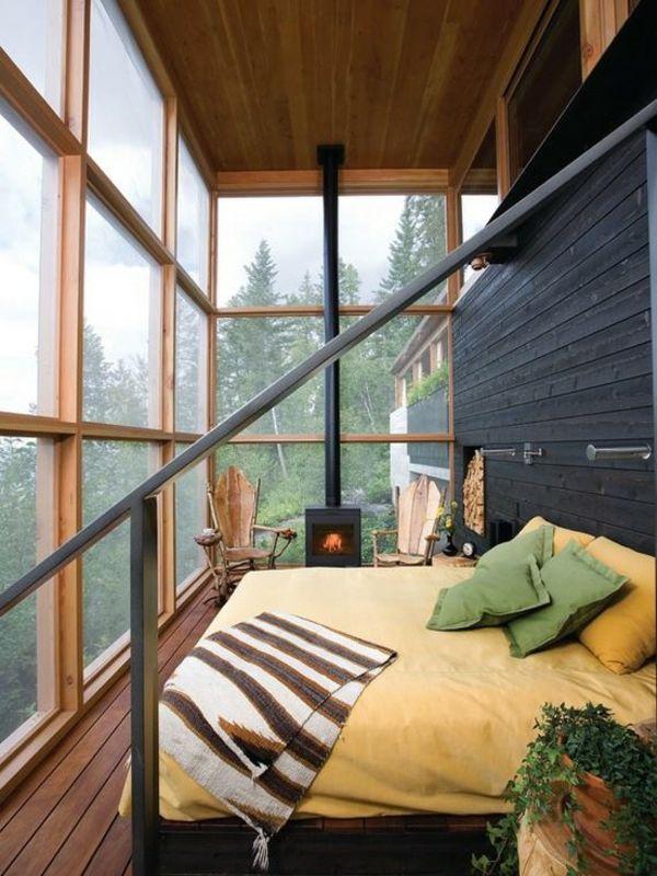 Schlafzimmer Einrichtungsideen Rustikal Bett Kamin