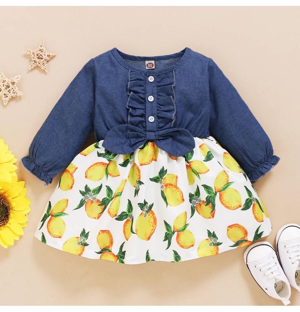 Baby Girl 12m 4t Blue Denim Long Sleeve Yellow Lemon Dress White Floral Long Sleeve Dress Super Cute Dresses Lemon Dress [ 1000 x 961 Pixel ]