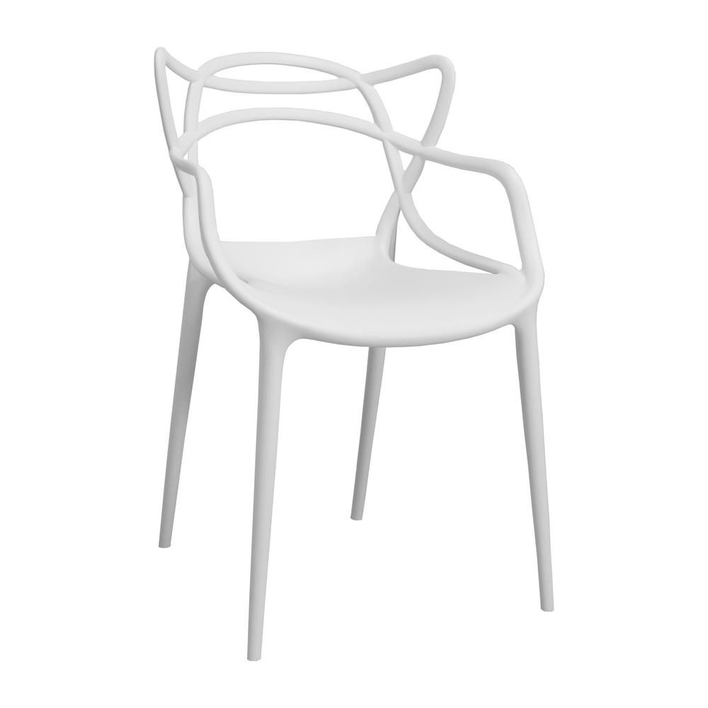 Superb Mod Made Modern Plastic White Loop Dining Side Chair Set Of Ibusinesslaw Wood Chair Design Ideas Ibusinesslaworg
