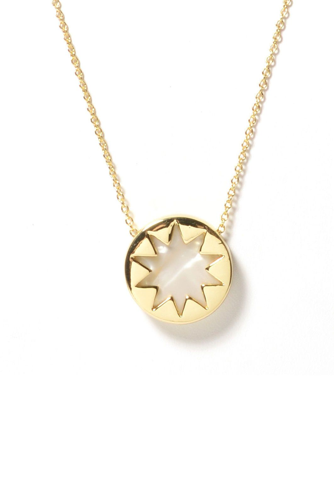 House Of Harlow Mini Sunburst Pendant Necklace in Metallic Gold l6sZ1xKP5L