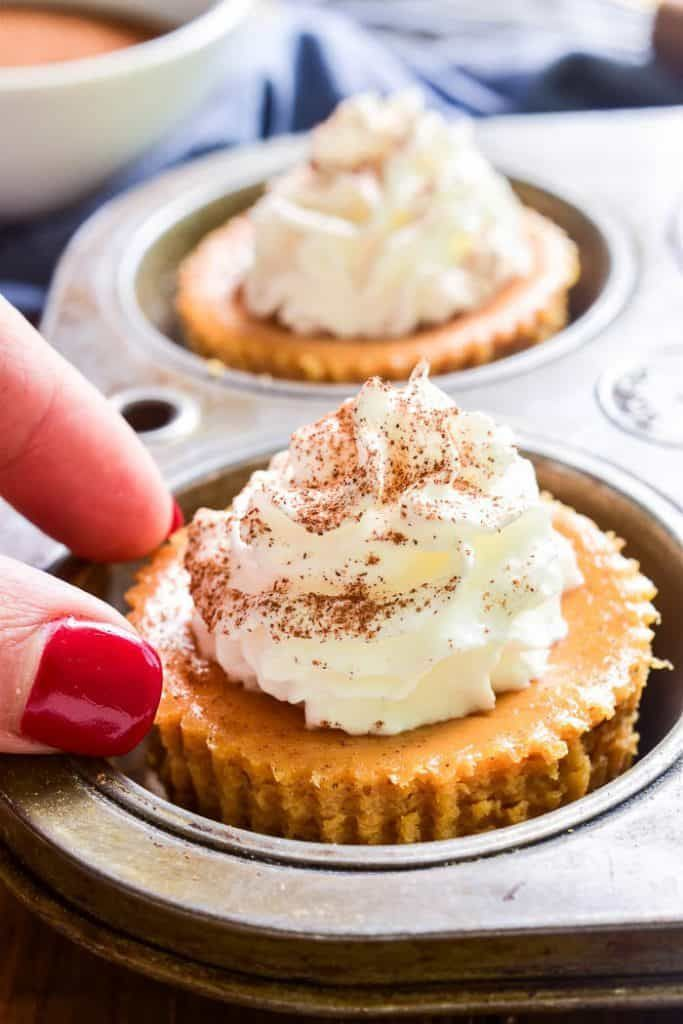 Mini Pumpkin Cheesecakes with Gingersnap Crusts  |Mini Pumpkin Cheesecake Bites
