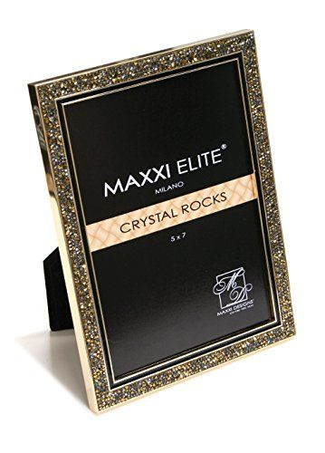 d84c91f04771 Maxxi Designs Luxe Nickel Plated Gold Crystal Rock Photo Frame with Easel  Back
