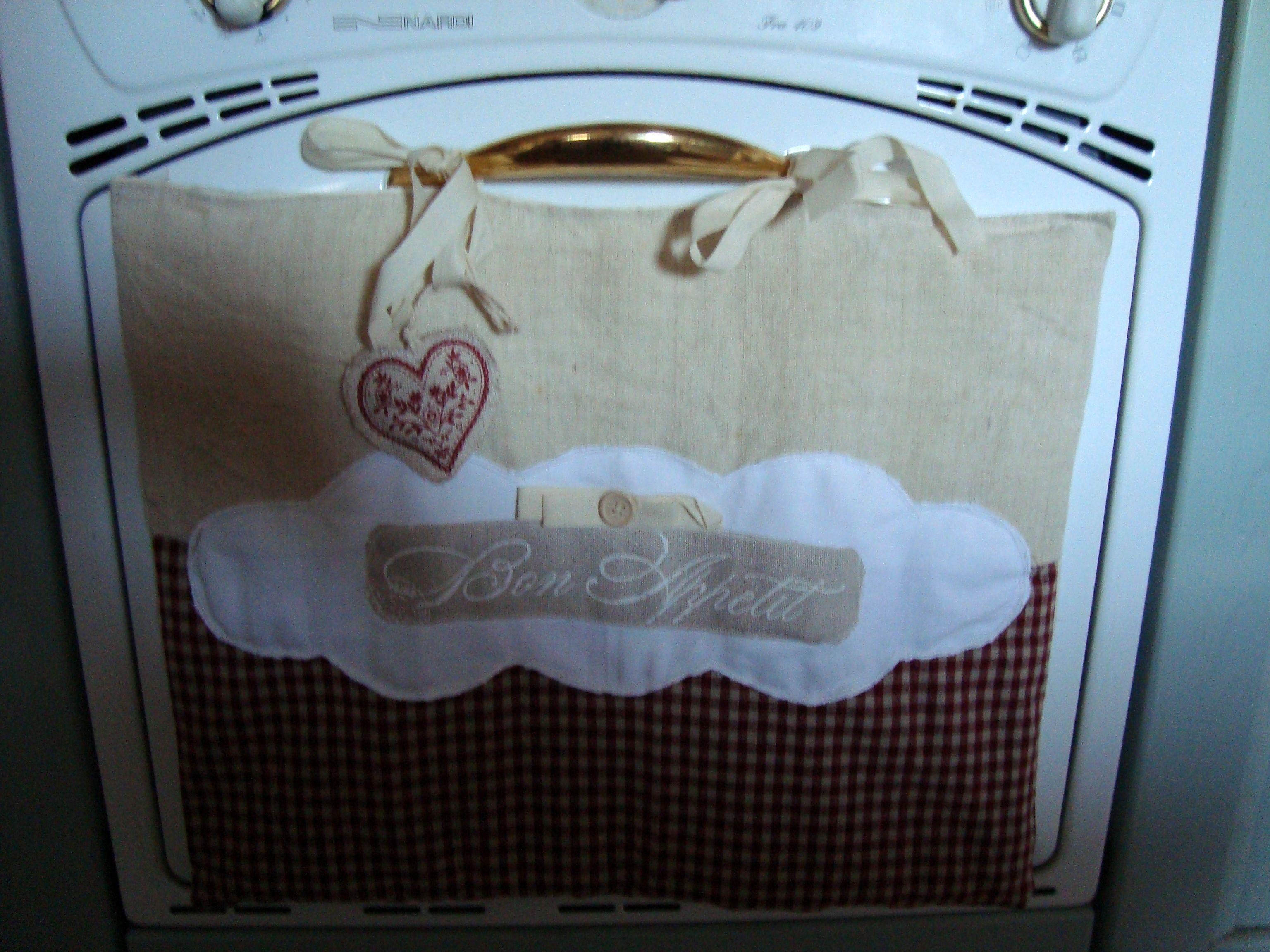 copriforno in lino vintage