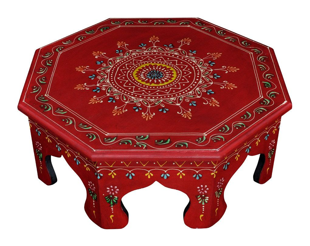 Antique Wooden Furniture Table Footstool Chowki Red Round