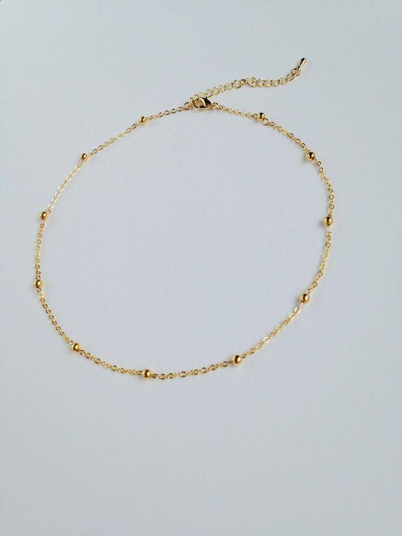 139ef2307a8ec8 Gold Circlet Chain Choker Gold Ball Choker by emilysimplejewelry. Gold Balls  Chain Choker, Gold Ball Choker, Satellite Necklace ...