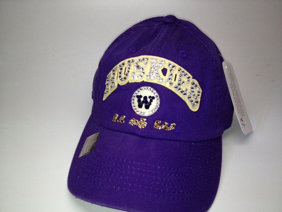 Swarovski crystal bling University of Washington Huskies adjustable hat on  Etsy 9a5da3181