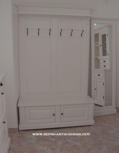 Landhaus Massivholz Garderobe Weiss Vintage Kolonial Sitzbank