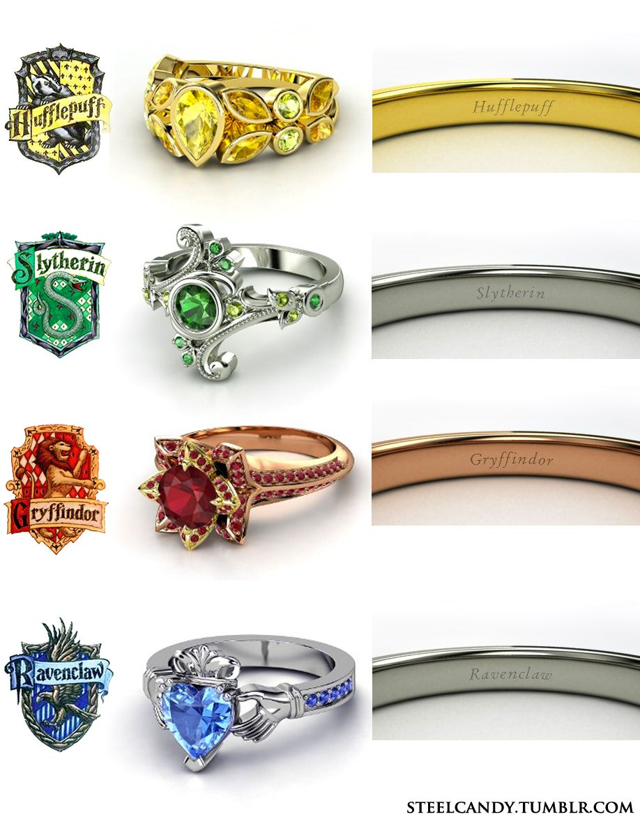Harry Potter 'the Four Houses' Engagement Rings!  Hufflepuffslytheringryffindorravenclaw (made On Gemvara