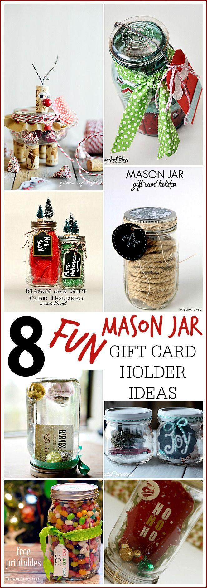 8 FUN MASON JAR GIFT CARD HOLDER IDEAS- Placeofmytaste.com