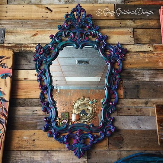 We gave this vintage 1960's ornate mirror a bohemian makeover!