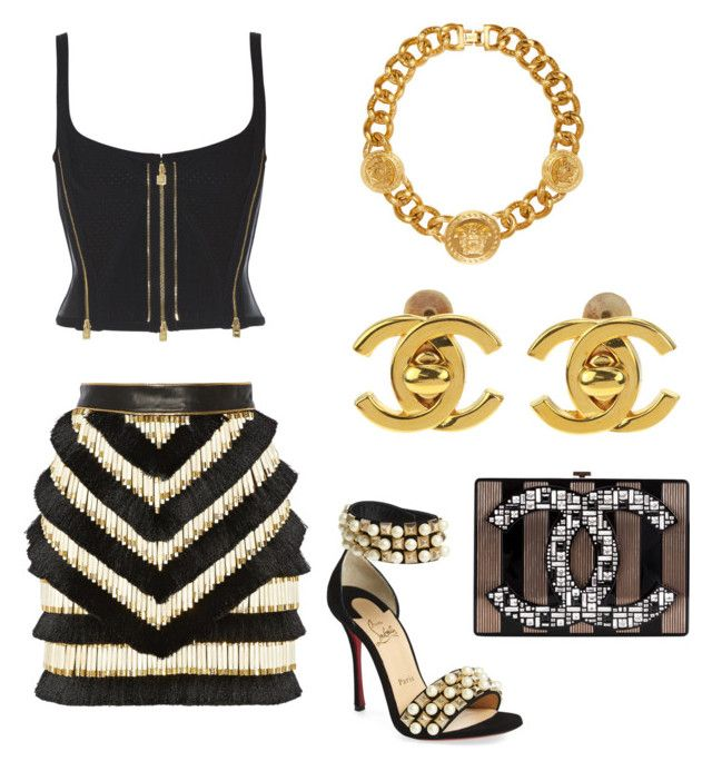 """""""Untitled #433"""" by jenn-m31 ❤ liked on Polyvore featuring Versace, Balmain, Christian Louboutin and Chanel"""